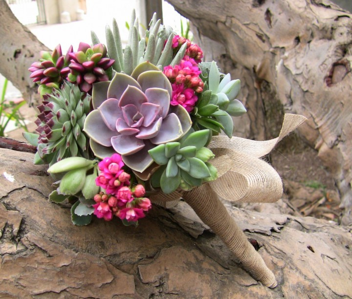 Green and purple succulent bouquet with fuchsia accents.
