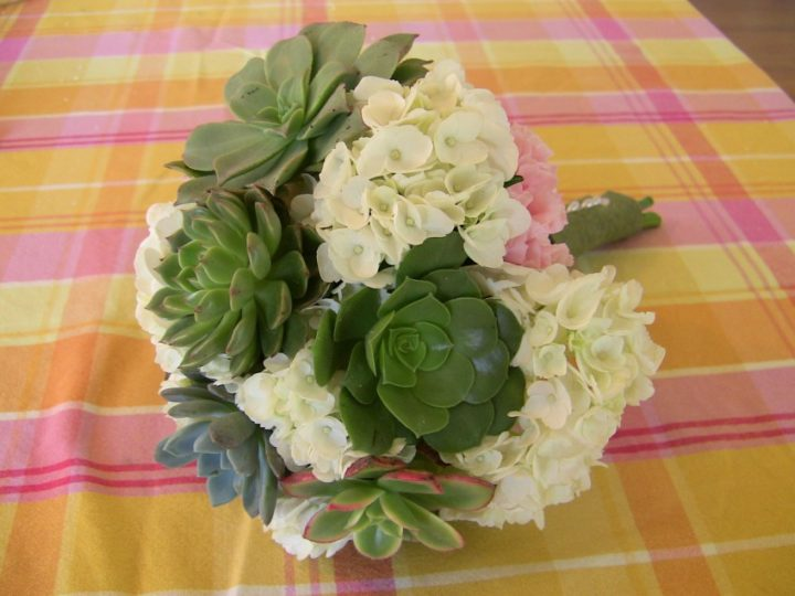 Succulent bouquet with pink carnations and white hydrangeas.