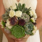 Succulent wedding bouquet green, purple and white.