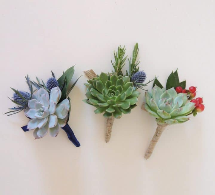 Three boutonnieres-blue, berries.