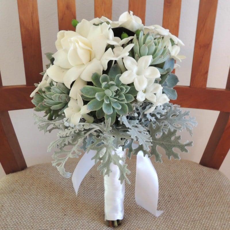succulent bouquet with gardenias. Black Bedroom Furniture Sets. Home Design Ideas