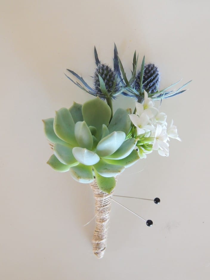 Succulent boutonnieres with thistle