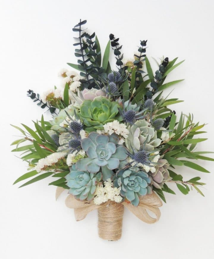 Succulent bouquet with blue thistle and baby eucalyptus