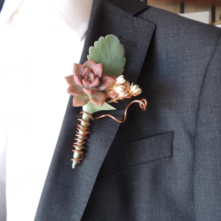 Wedding Boutonniere Copper