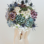 succulent-bouquet with thistle and purple