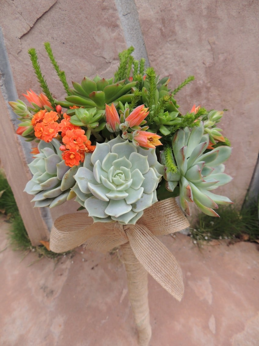 Succulent Wedding Bouquet With Green And Purple