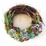 succulent wreath with sticks on fire