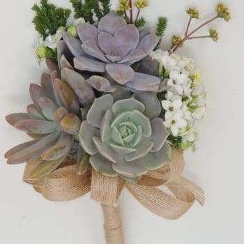 bridal bouquet designed with succulent echeverias with filler foliage and flowers