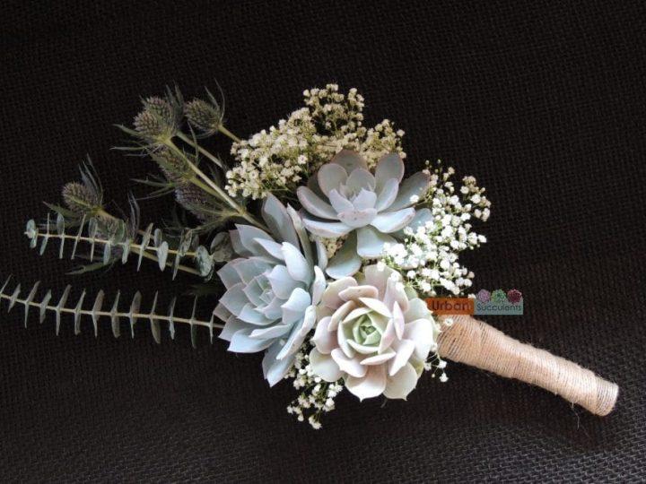 succulent and thistle bouquet