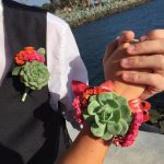 succulent boutonniere and corsage set
