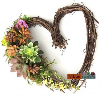 Grape Vine Succulent Heart Wreath
